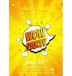 Flyer of disco party in pop art style vector