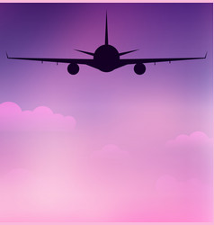 Flying silhouette of an airplane on sky with vector