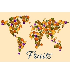Fruits icons in world map vector