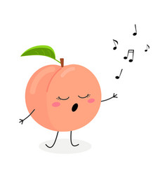 funny cartoon peach singer vector image