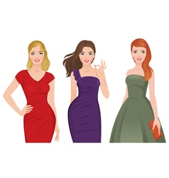 Group of young beautiful women vector image