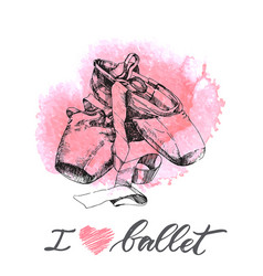 Hand drawn pair of well-worn ballet pointes shoes vector