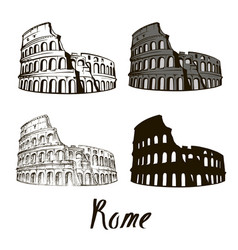 hand drawn rome the colosseum vector image