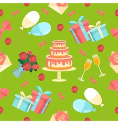 Happy Birthday Seamless Pattern with Cake Flowers vector image