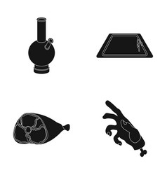 Hookah pool and other web icon in black styleham vector