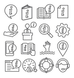 information line icons set on white background vector image