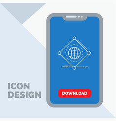 iot internet things of global line icon in mobile vector image