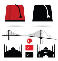 istambul turkey mosque silhouette set icon vector image