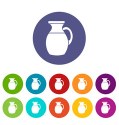 jug of milk set icons vector image