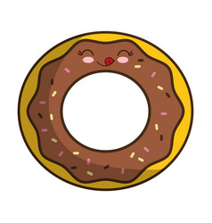 Kawaii donut icon vector