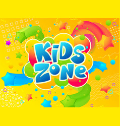 kids zone coloring play area banner cartoon vector image