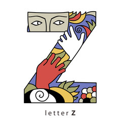 Letter z with mask vector