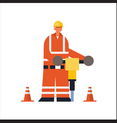 Male builder drilling with jackhammer busy workman vector