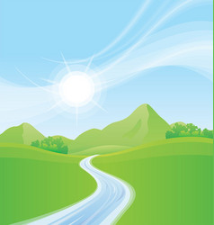 Meadows and mountains with flowing stream vector