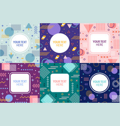 Memphis frames retro 90s style abstract banner vector