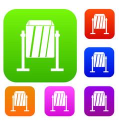 metal dust bin set color collection vector image