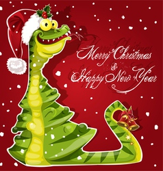 New Year Snake ate a Christmas tree banner on red vector image