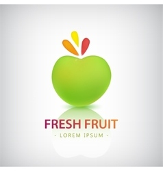 Organic food logo fresh fruit vector
