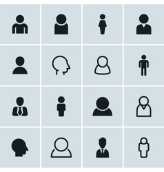 People icons set of 16 person symbols vector image