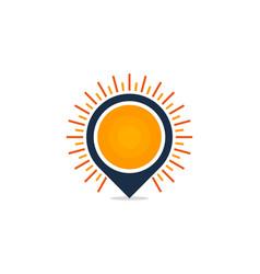 Pin sun logo icon design vector