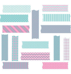 Pink and Aqua Washi Tape Graphics set vector