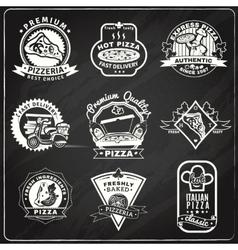 Pizza Chalkboard Emblems Set vector image