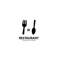 Restaurant logo design with fork and spoons vector
