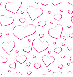 seamless pattern from pink hearts for background vector image