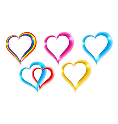 set color heart shape symbol of love vector image