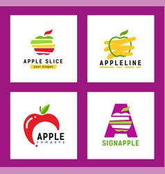 set modern logos with an apple silhouette logo vector image