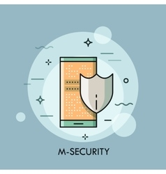 Shield and smartphone with lock screen mobile vector image