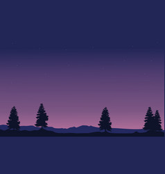 Silhouette of tree with purple sky landscape vector