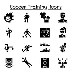 soccer training football club icon set vector image