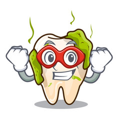 Super hero cartoon unhealthy decayed teeth in vector