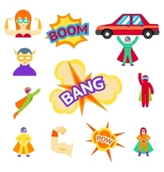 Super hero flat icons characters vector