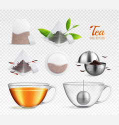 tea brewing bag realistic transparent icon set vector image