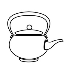 Teapot ceramic japanese culture traditional line vector