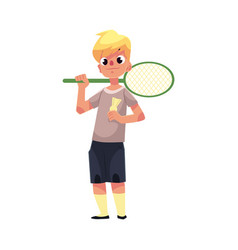 teenage caucasian boy halding badminton racket and vector image