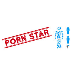 Textured porn star line seal and mosaic lover guy vector