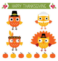 Thanksgiving set - cute owls vector
