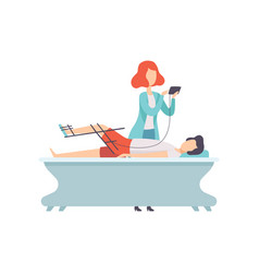 therapist working with disabled patient and vector image