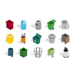 Type of street office can icon set isometric vector