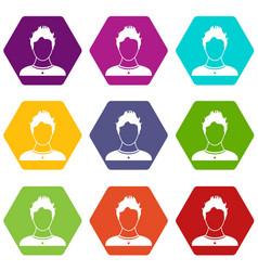 user icon set color hexahedron vector image