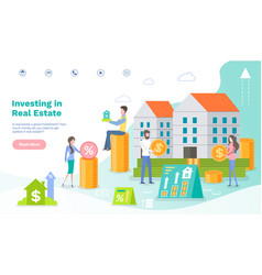 website landing page for attracting investors vector image