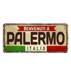 welcome to palermo in italian languagevintage vector image