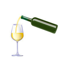white wine pouring from bottle vector image
