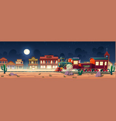 wild west steam train at night western town vector image