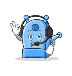 With headphone pencil sharpener character cartoon vector