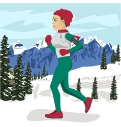Young woman jogging outside in winter mountains vector