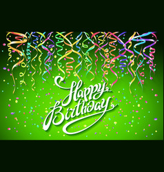 happy birthday card with green background with vector image vector image